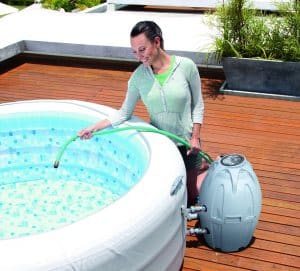 cheap inflatable hot tub filling up
