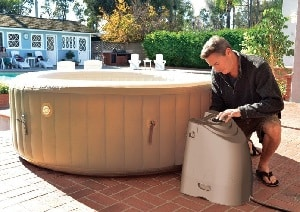 Intex 85in PureSpa Portable Bubble Massage Spa Set set up